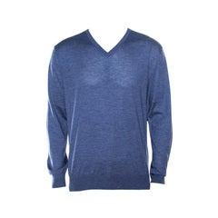 Ermenegildo Zegna Blue Cashmere and Silk Knit Long Sleeve V Neck Sweater L