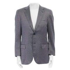 ERMENEGILDO ZEGNA blue grey silk wool dual button classic blazer jacket 50R L