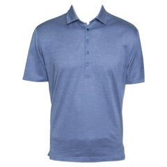 Ermenegildo Zegna Blue Honeycomb Pattern Short Sleeve Polo T-Shirt M