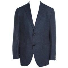 Ermenegildo Zegna Blue Houndstooth Silk Cashmere Easy Fit Mila Blazer