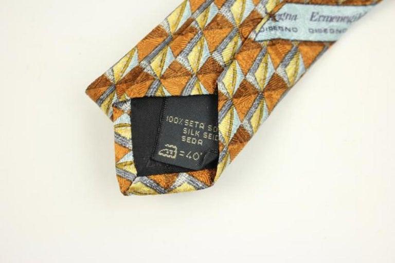 5a85375c Ermenegildo Zegna Blue Yellow Orange Pure Silk Patterned Tie Eztty08