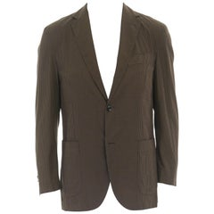ERMENEGILDO ZEGNA brown black checked cotton wool blend blazer jacket EU50 US40