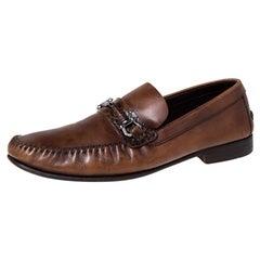 Ermenegildo Zegna Brown Leather Horsebit Slip On Loafers Size 42.5