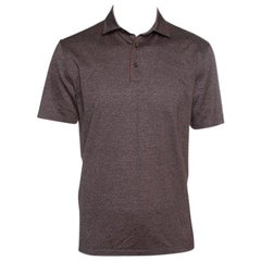 Ermenegildo Zegna Brown Marled Cotton Polo T-Shirt M