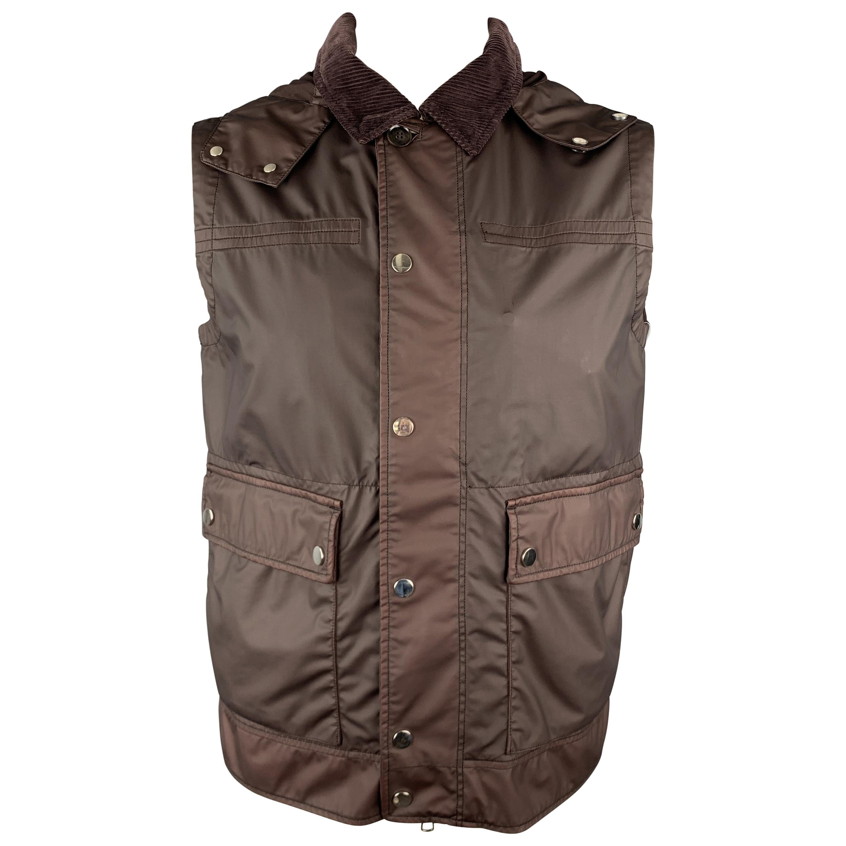 ERMENEGILDO ZEGNA Burgundy Size 40 Coated Wool Detachable Hood Vest