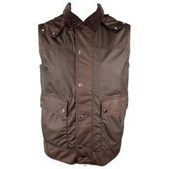 ERMENEGILDO ZEGNA Burgundy Size 40 Coated Wool Detachable Hood Vest
