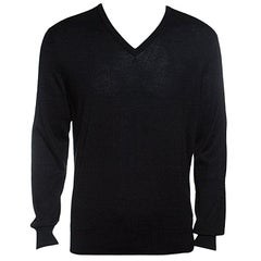 Ermenegildo Zegna Cashseta Light Black Ribbed Trim V-Neck Sweater L