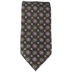 ERMENEGILDO ZEGNA Charcoal & PLum Floral Pattern Silk Tie