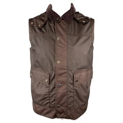 ERMENEGILDO ZEGNA Chest 40 Burgundy Coated Wool & Corduroy Hooded Vest
