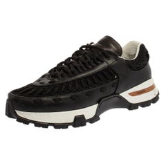Ermenegildo Zegna Couture Black Leather and Mesh Claudio Sneakers Size 43