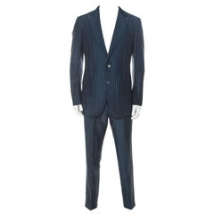 Ermenegildo Zegna Couture Blue Striped Linen and Silk Blend Regular Fit Suit L