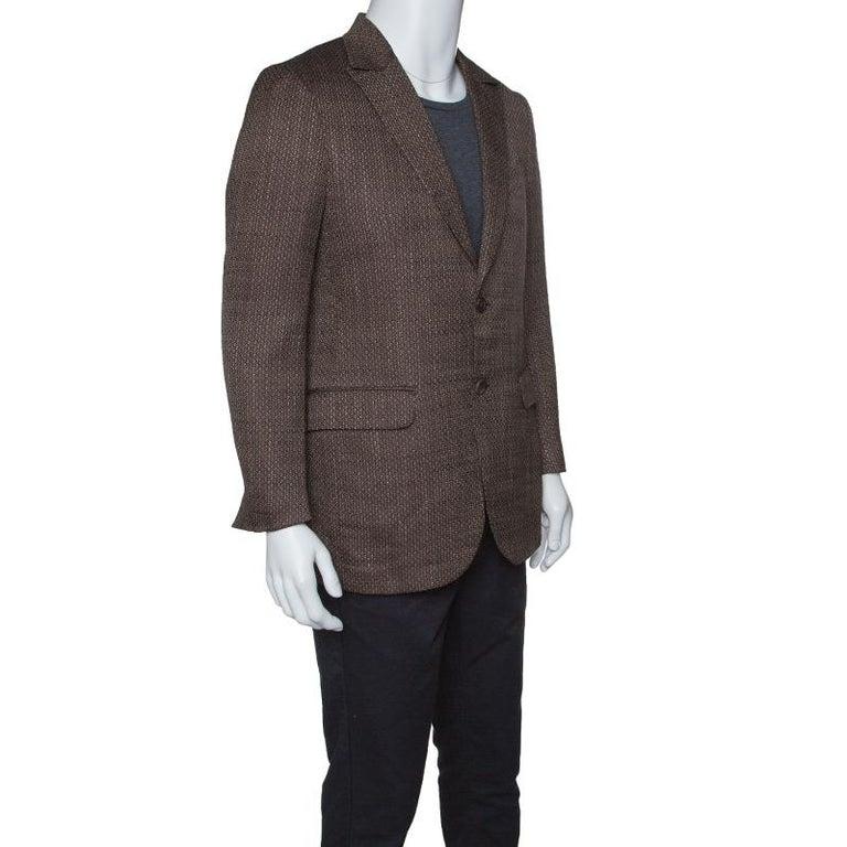 d9e6a1c839 Ermenegildo Zegna Couture Brown Textured Silk Cotton Blend Tailored Blazer L