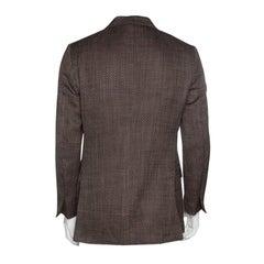 Ermenegildo Zegna Couture Brown Textured Silk Cotton Blend Tailored Blazer L
