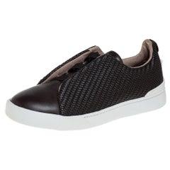 Ermenegildo Zegna Couture Dark Brown Leather Triple Stitch Size 42.5