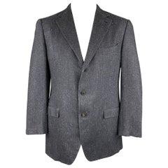 ERMENEGILDO ZEGNA Couture Size 44 Regular Navy Herringbone Cashmere Jacket