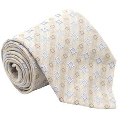 Ermenegildo Zegna Cream and Blue Patterned Silk Tie One Size