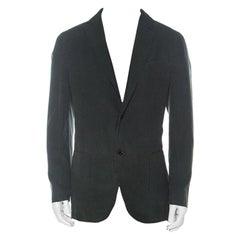 Ermenegildo Zegna Dark Green Checkered Seersucker Silk Regular Fit Blazer L