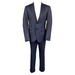 ERMENEGILDO ZEGNA for WILKES BASHFORD Size 40 Navy Wool Notch Lapel Suit