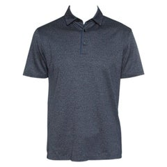 Ermenegildo Zegna Grey Marled Cotton Polo T-Shirt M