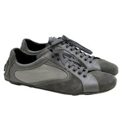 Ermenegildo Zegna Grey Suede, Leather & Mesh Sneakers Size 8