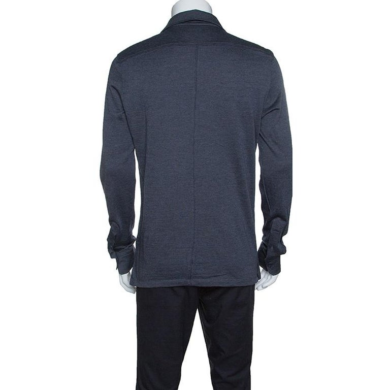 50aaa8715f Ermenegildo Zegna Grey Wool and Silk Knit Long Sleeve Polo T-Shirt M
