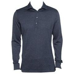 395d49cbf9 Ermenegildo Zegna Navy Blue Wool Cotton Knit long Sleeve Polo T ...