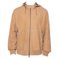 Ermenegildo Zegna Light Brown Leather Paneled Hooded Jacket 3XL