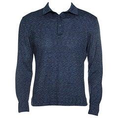 Ermenegildo Zegna Navy Blue Silk Knit Long Sleeve Polo T-Shirt S