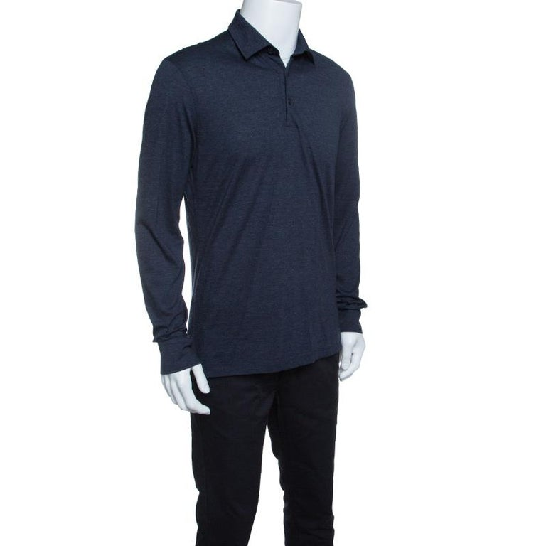 ae317f2a Ermenegildo Zegna Navy Blue Wool Cotton Knit long Sleeve Polo T-Shirt S