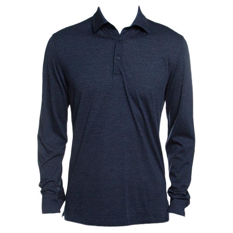 f623b16211 Ermenegildo Zegna Navy Blue Wool Cotton Knit long Sleeve Polo T-Shirt S