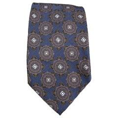 ERMENEGILDO ZEGNA Navy Ornate Print Silk Tie