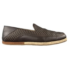 ERMENEGILDO ZEGNA Size 10 Brown Woven Leather Slip On Braided Sole Loafers