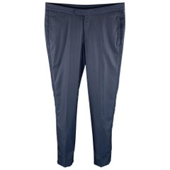ERMENEGILDO ZEGNA Size 32 Navy Woven Wool / Silk Zip Fly Dress Pants