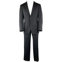 ERMENEGILDO ZEGNA Size 38 Navy Solid Short Wool Notch Lapel 32 x 30 Suit