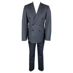 ERMENEGILDO ZEGNA Size 40 Navy Glenplaid Wool / Silk Double Breasted Suit
