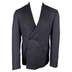 ERMENEGILDO ZEGNA Size 40 Navy Silk / Wool Custom Sport Coat
