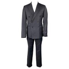 ERMENEGILDO ZEGNA Size 40 Navy Wool Double Breasted Custom Suit
