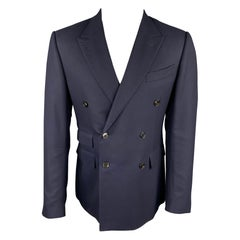 ERMENEGILDO ZEGNA Size 40 Navy Wool Peak Lapel Double Breasted Sport Coat