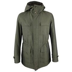 ERMENEGILDO ZEGNA Size 40 Olive Sharkskin Hooded Drawstring Coat