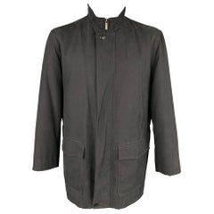 ERMENEGILDO ZEGNA Size 42 Black Polyester Blend Zip Up Coat