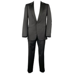 ERMENEGILDO ZEGNA Size 42 Long Black Wool Peak Lapel Tuxedo