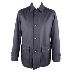 ERMENEGILDO ZEGNA Size 42 Navy Blue Pinstripe Wool Zip & Buttons Coat