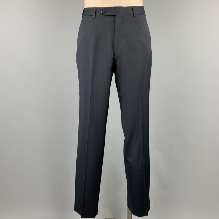 Men's ERMENEGILDO ZEGNA Size 42 Regular Black Wool Notch Lapel Suit For Sale