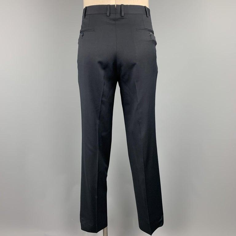ERMENEGILDO ZEGNA Size 42 Regular Black Wool Notch Lapel Suit For Sale 1