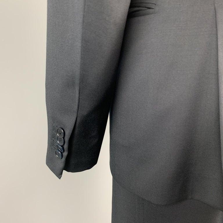 ERMENEGILDO ZEGNA Size 42 Regular Black Wool Notch Lapel Suit For Sale 2