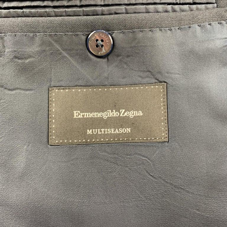 ERMENEGILDO ZEGNA Size 42 Regular Black Wool Notch Lapel Suit For Sale 3