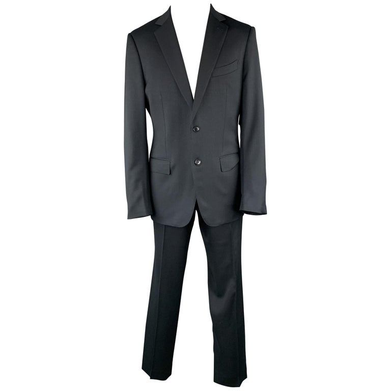 ERMENEGILDO ZEGNA Size 42 Regular Black Wool Notch Lapel Suit For Sale