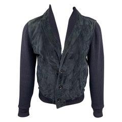 ERMENEGILDO ZEGNA Size 44 Navy Mixed Fabrics Wool Jacket