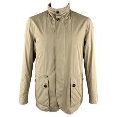 ERMENEGILDO ZEGNA Size 44 Olive Cotton / Polyester High Collar Patch Pockets Jac