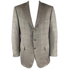 ERMENEGILDO ZEGNA Size 46 Plaid Gray Wool Notch Lapel Long Sport Coat